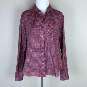 Vintage 70s Red Plaid Long Sleeve Shirt L XL